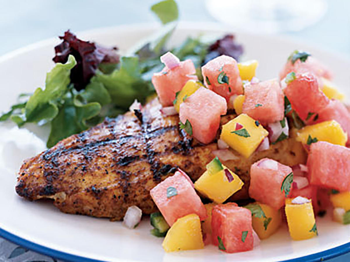 Marinated Grilled Chicken Breast with Watermelon-Jalapeño Salsa Recipes