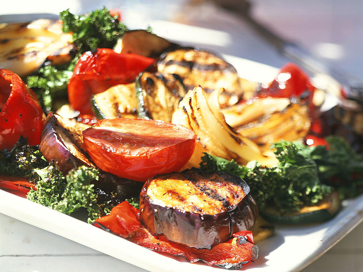 Healthy antioxidant rich vegetables get a flavorful punch when marinated in balsamic vinaigrette and grilled.