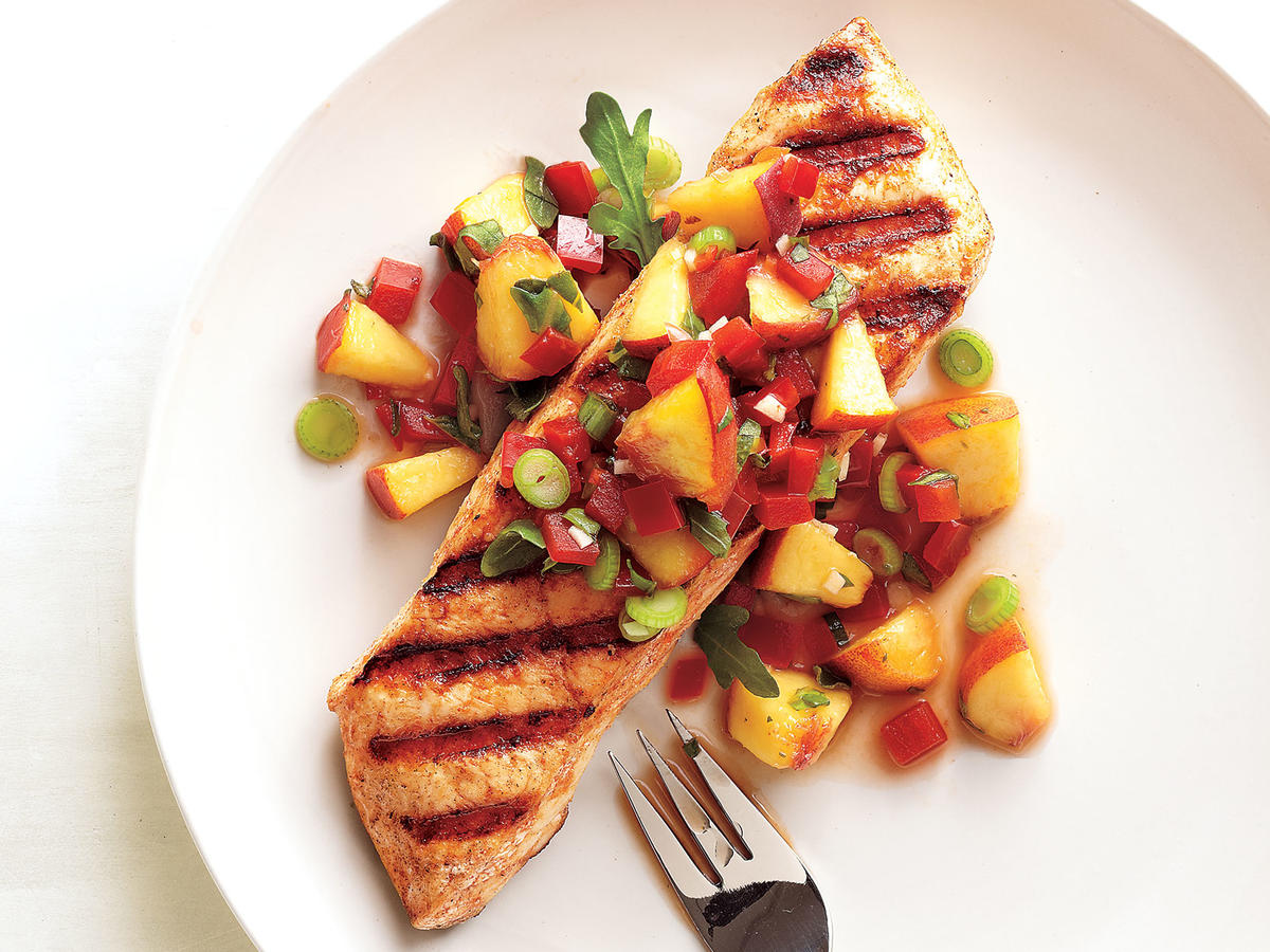 Heat up the grill; our Grilled Halibut with Peach and Pepper Salsa is its most delicious cooked this way. Halibut is hailed by fish lovers for its firm texture, flaky white meat, and accessibility. A flat fish, similar to flounder, halibut fresh catches have been recorded at over 600 pounds – a lot to go around! The fresh, sweet-and-spicy salsa pairs perfectly with the smoky flavor offered by the grill.