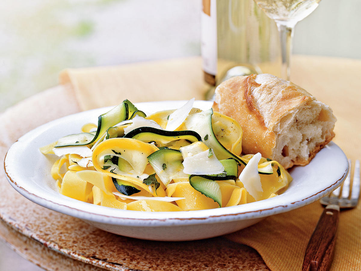 You can also toss the ribbons with wide flat pasta, such as pappardelle, for a delicious entrée. While we recommend basil and oregano, use whatever fresh herbs you have on hand. Serve with a crisp sauvignon blanc and crusty bread.