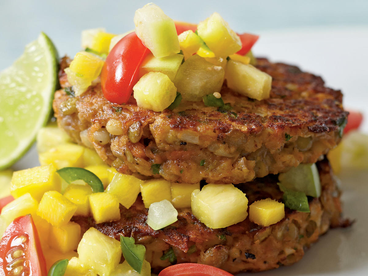 Lentil-Barley Burgers with Fiery Fruit