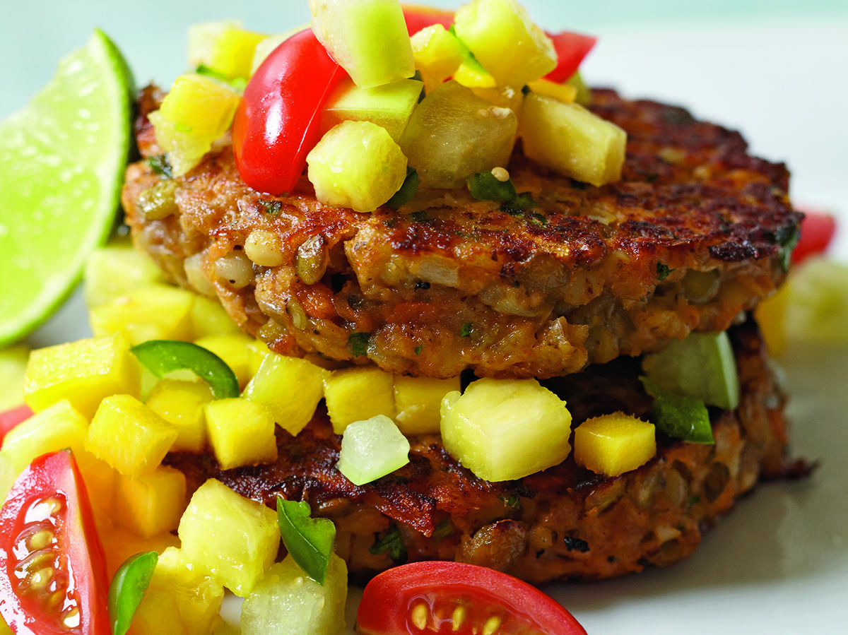 Use leftover cooked pearl barley with lentils, veggies, and seasoning for a hearty main-dish burger, sans the bun. Fruit salsa adds bright flavors. Serve with lime wedges for added zest.