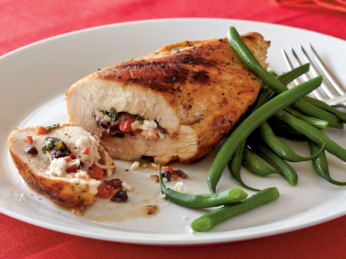 Used sparingly, naturally high-fat foods like sharp cheeses and salty condiments can boost flavor without going overboard. Here lean low-fat chicken breasts are stuffed with a combination of roasted red pepper, feta, and kalamata olives. The small amount of filling kicks the chicken up a notch, but still keeps calories, fat, and sodium in check. If you don't want to grill, sauté the chicken instead. Serve with quinoa or whole wheat couscous and steamed green beans. This super easy dish drew raves from our users, calling it a great solution to busy weeknights without sacrificing flavor.