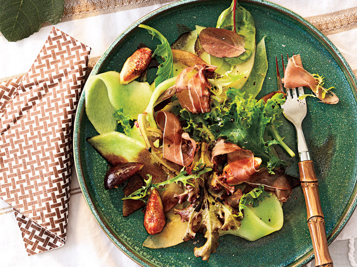 Melon and Fig Salad with Prosciutto and Balsamic Drizzle Recipe