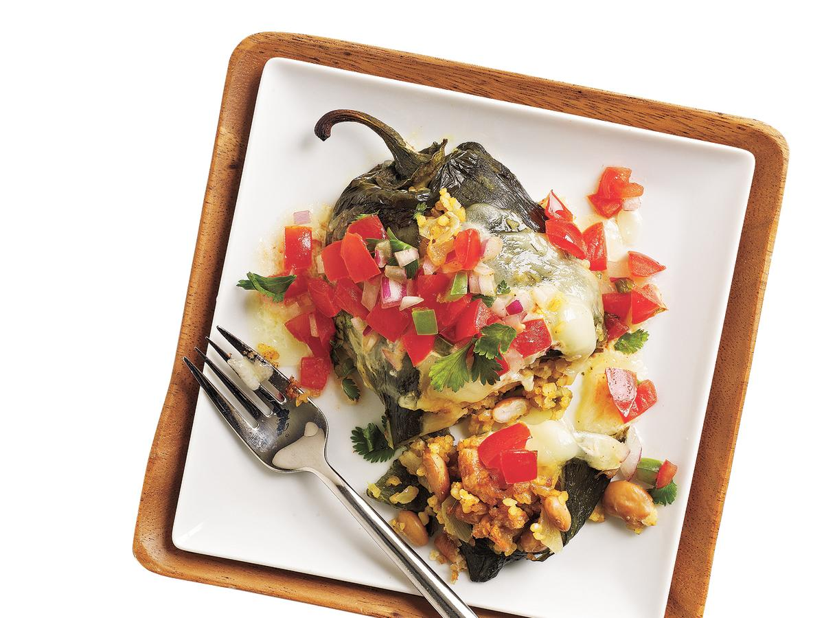 This vegetarian dish is so hearty, it will even satisfy an avid meat-eater. Poblano chiles are stuffed with beans and veggies and smothered with cheese for a Mexican dish you will adore.