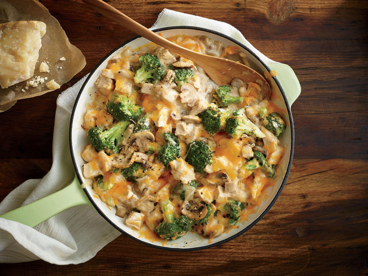 Traditional creamy chicken casserole can have more than 800 calories per serving, but we're serving up this classic comfort dish with a fraction of the calories.