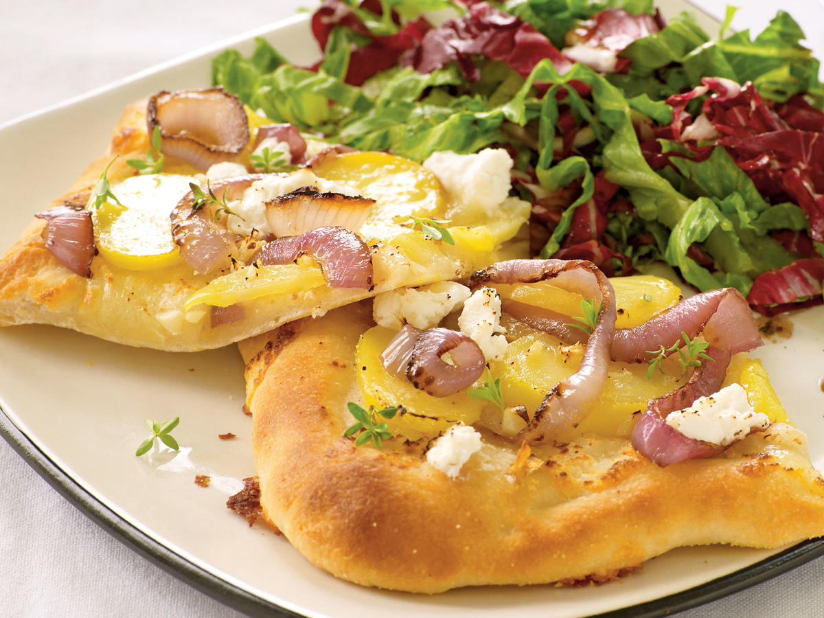 Vegetarian Dinner Recipe: Red Onion, Potato, and Goat Cheese Pizza