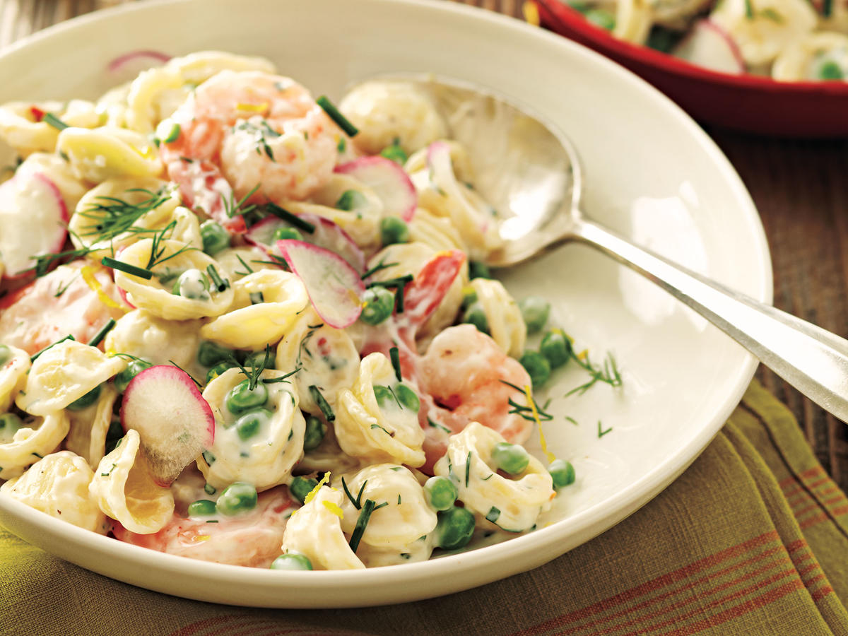 Orecchiette with Peas, Shrimp, and Buttermilk-Herb Dressing Recipe