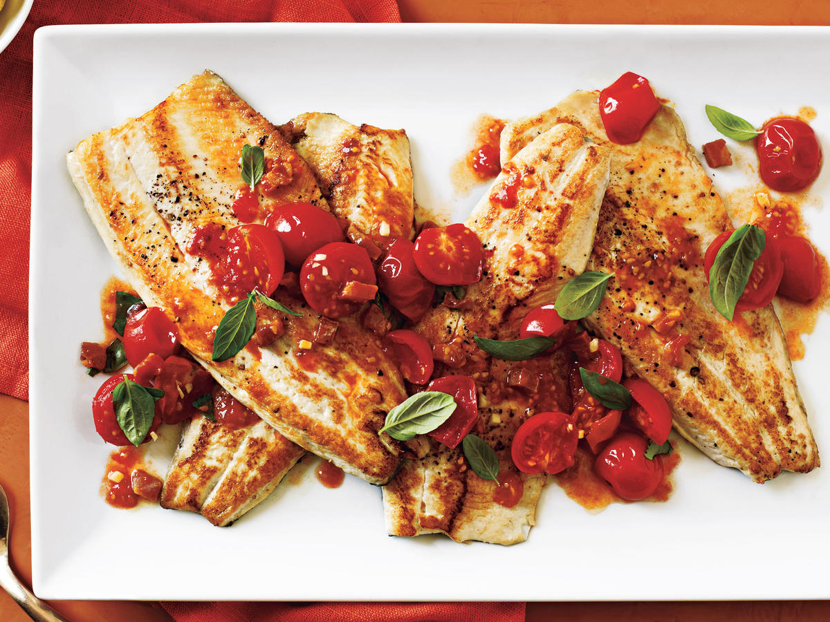 Pancetta lends a smoky flavor to this Italian-style seafood dish. The sauce makes this fish moist and tender and infusing with basil tops it all off with a fresh herb kick.