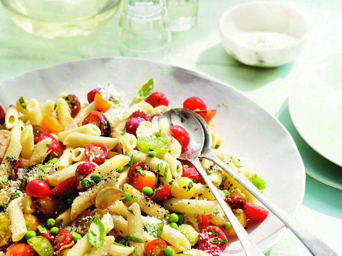 Our Penne with Herbs, Tomatoes, and Peas is an ideal dish for entertaining or to serve to company, this pasta dish is full of only the freshest flavors of the season.