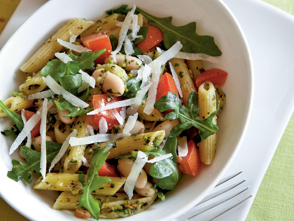 Penne with Pistachio Pesto and White Beans