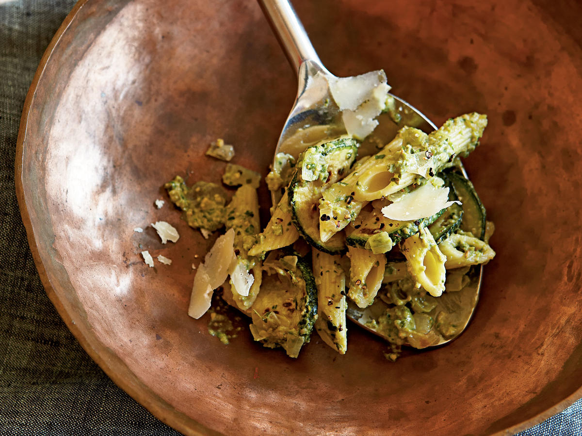 This delicious pasta dish is at once indulgent and light. If you're looking for a new way to use summer's zucchini, look no further.