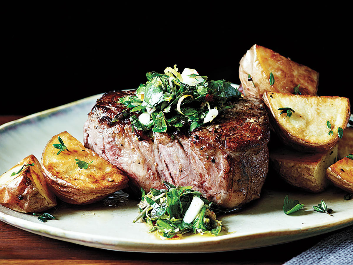 It doesn't take processed ingredients to season a perfectly cooked steak. In fact, it ruins it. This steak gets its bright natural flavor from fresh herbs and lemon juice. The gremolata adds a depth of flavor to this steak dinner. Pair it with roasted vegetables or a salad; the tenderloin is the star of this dinner. We suggest breaking this recipe out for a special night in or when you're serving guests at home. The steaks cook quickly in the pan, so have your sides almost ready before you begin.