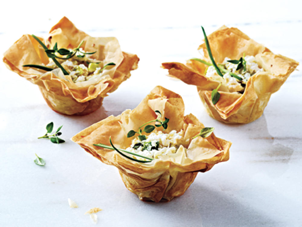 Phyllo Cups with Ricotta Chèvre and Thyme