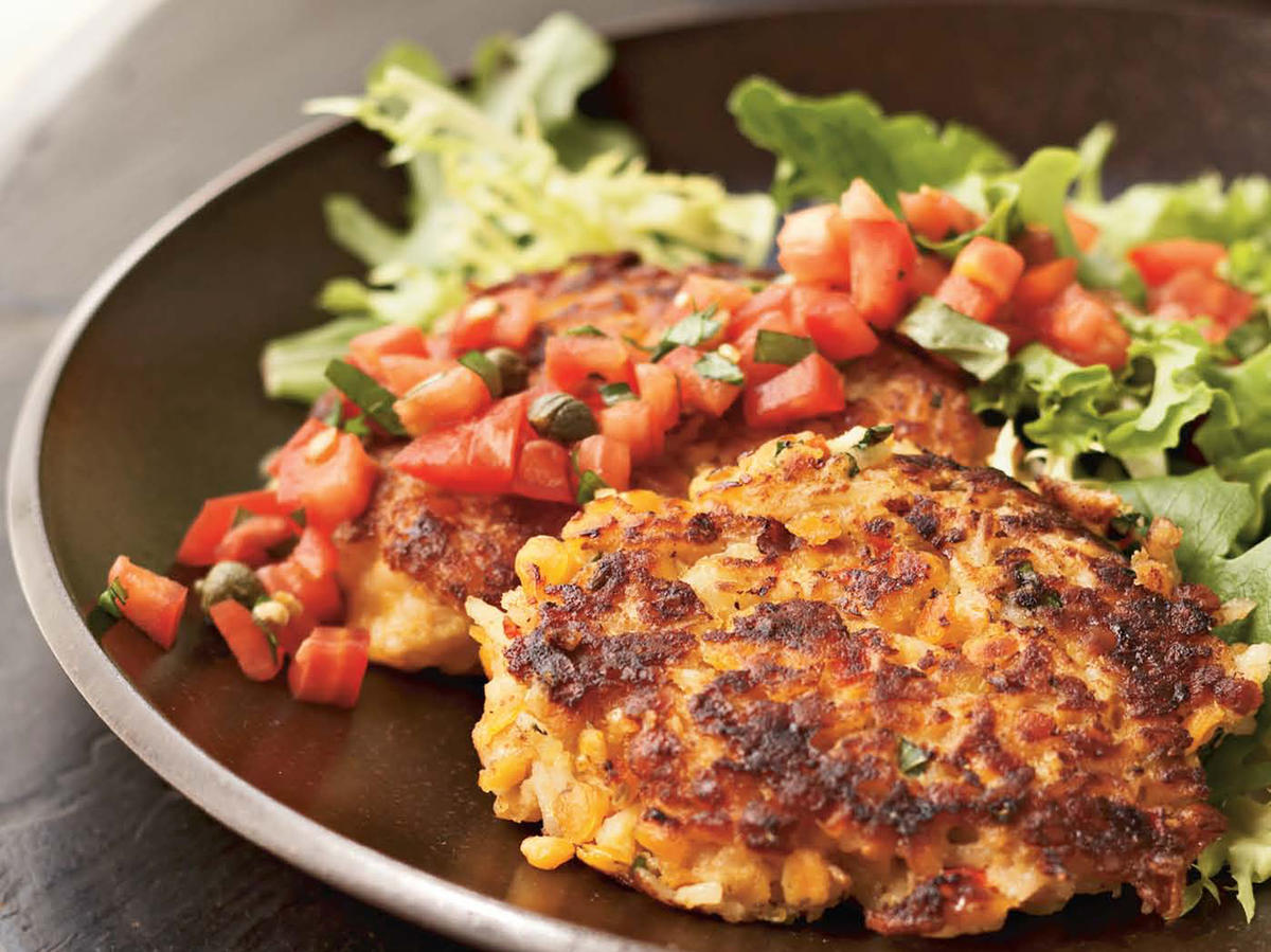 Crisp on the outside and creamy on the inside, these salsa-topped, red-lentil rice cakes make a lovely vegetarian entrée.
