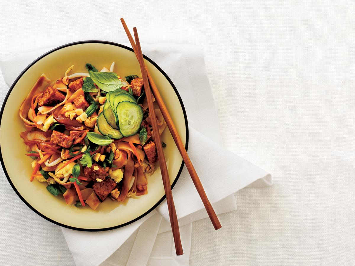 Wide rice noodles are great for stir-fries and cook better when broken into shorter lengths. Soften in hot water, and stir-fry as directed. If unavailable, substitute linguine or fettuccine.