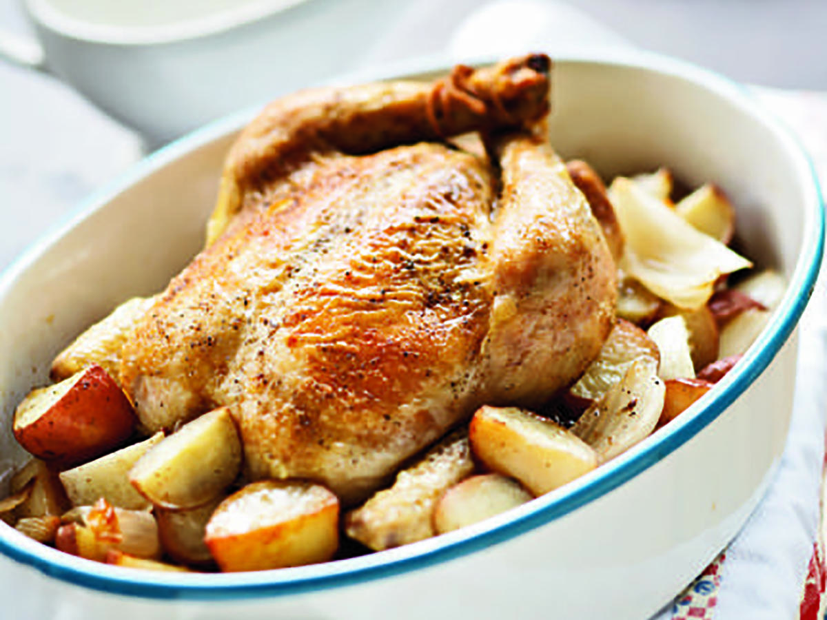 Roasted Chicken with Onions, Potatoes, and Gravy Recipes