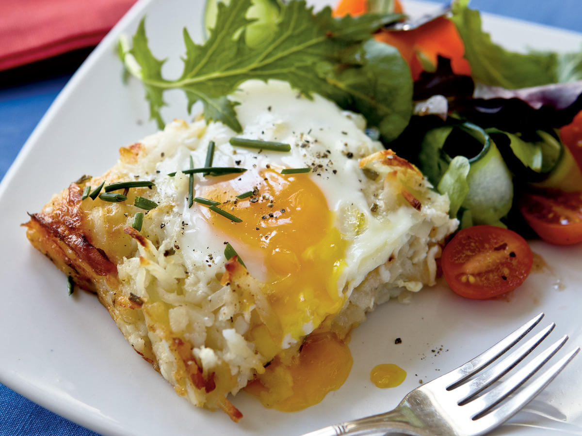 "This dish embodies the alluring qualities you'd expect from rösti―shredded potatoes that are cooked until browned and crisp on the edges. Senior Food Editor Julianna Grimes notes, ""This casserole fills the crispy, creamy, cheesy bill. Adding a salad rounds out the meal."""
