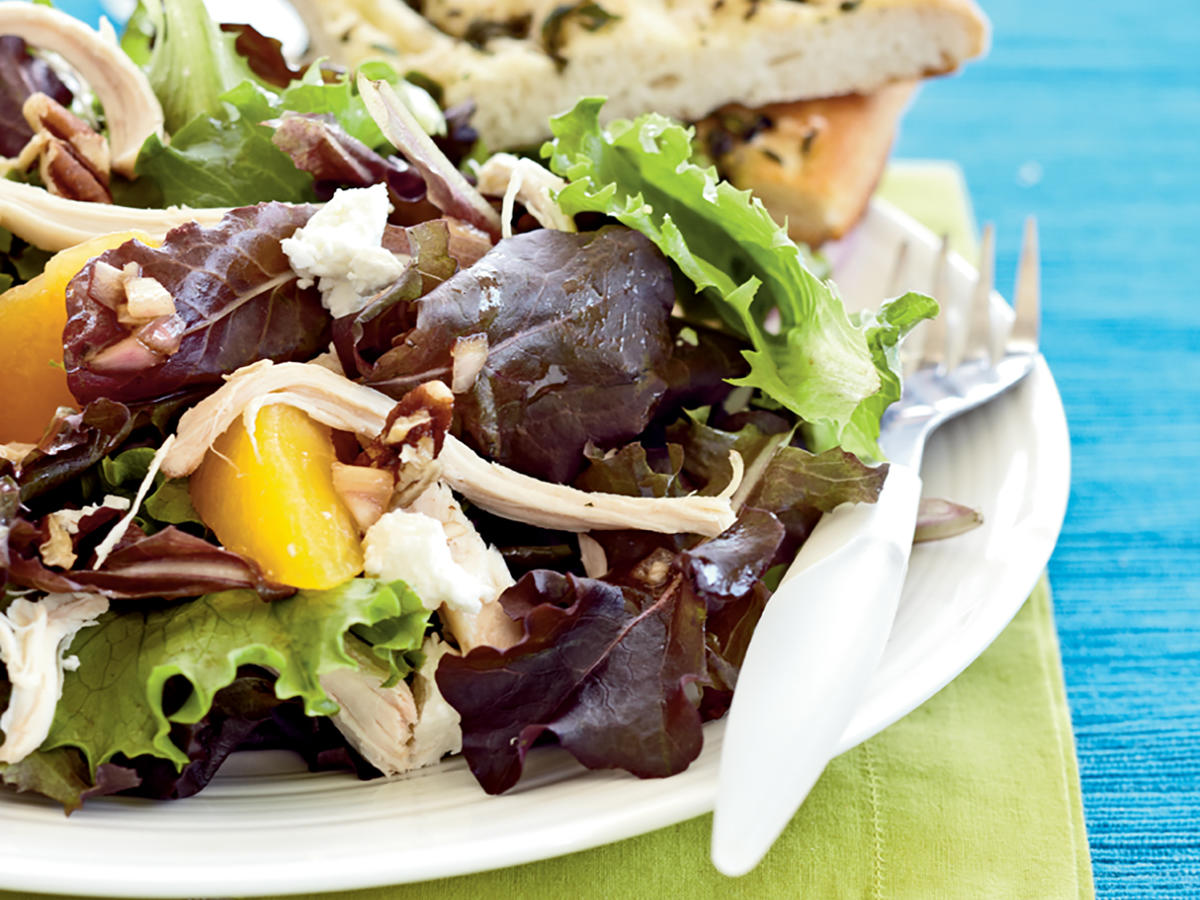 Roast Chicken Salad with Peaches, Goat Cheese, and Pecans Recipe