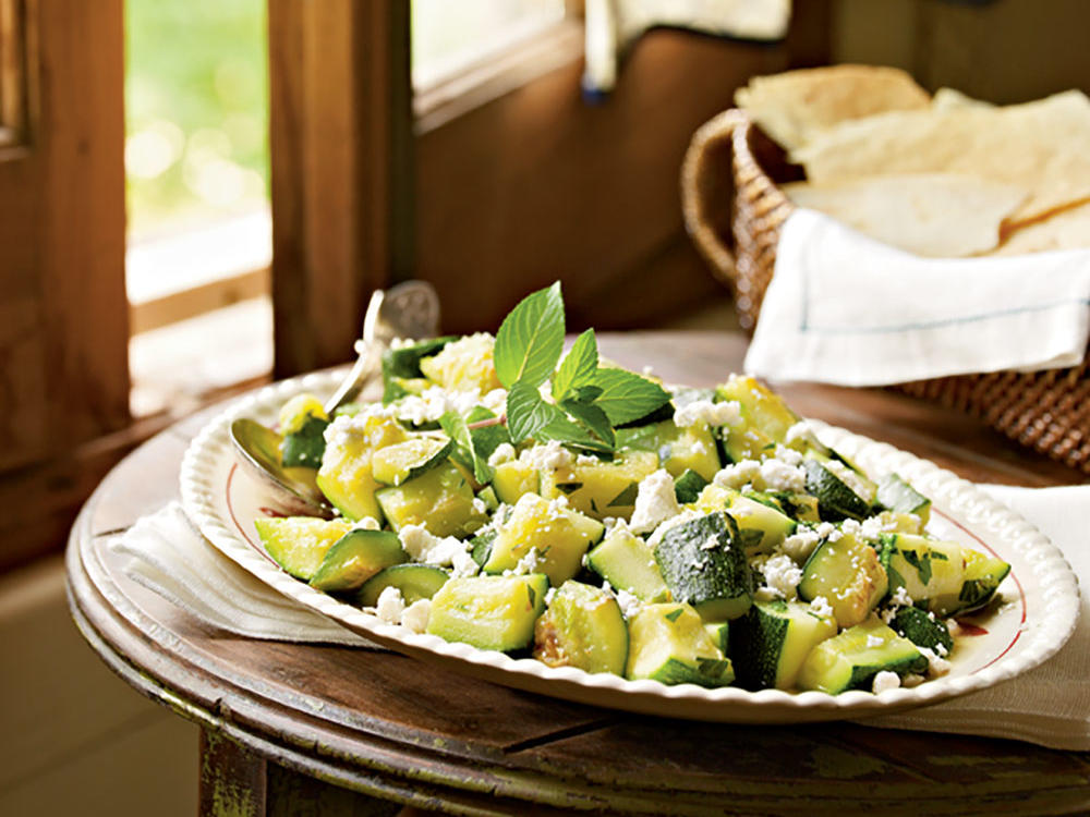 Zucchini and peppermint may sound like an unlikely pair, but after one bite, you will learn the flavors lend masterfully to one another. To purchase pane carasau, the paper-thin flatbread used in this recipe, visit Gourmet Sardinia.