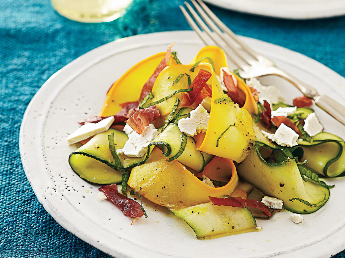 Shaved Summer Squash Salad With Prosciutto Crisps