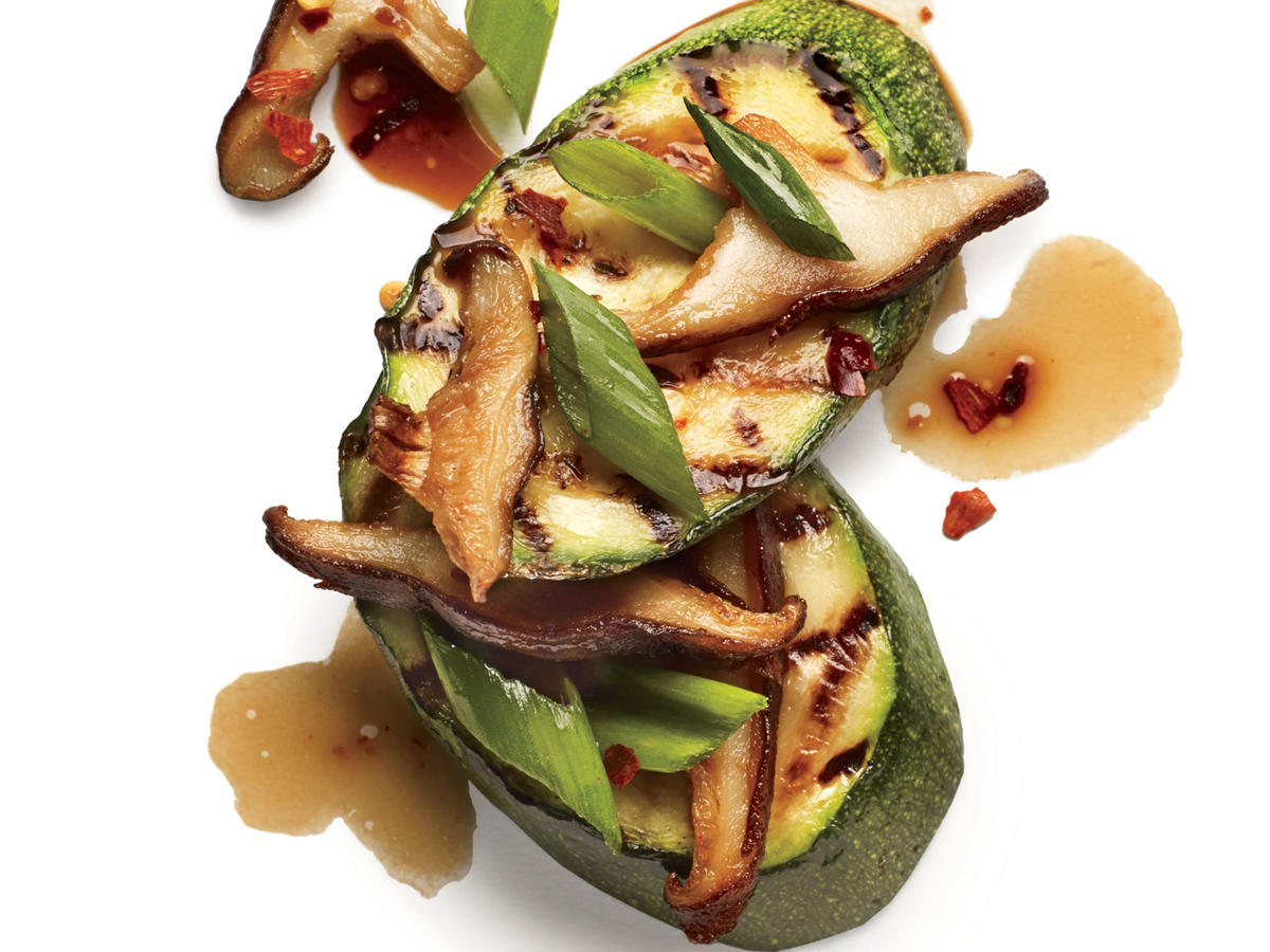 Sweet rice wine and shiitake mushrooms unite to give zucchini an earthy sweetness.