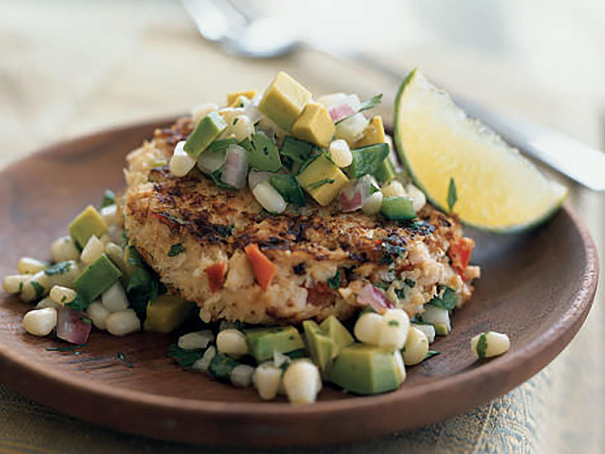 Spicy Shrimp Cakes with Corn and Avocado Salsa