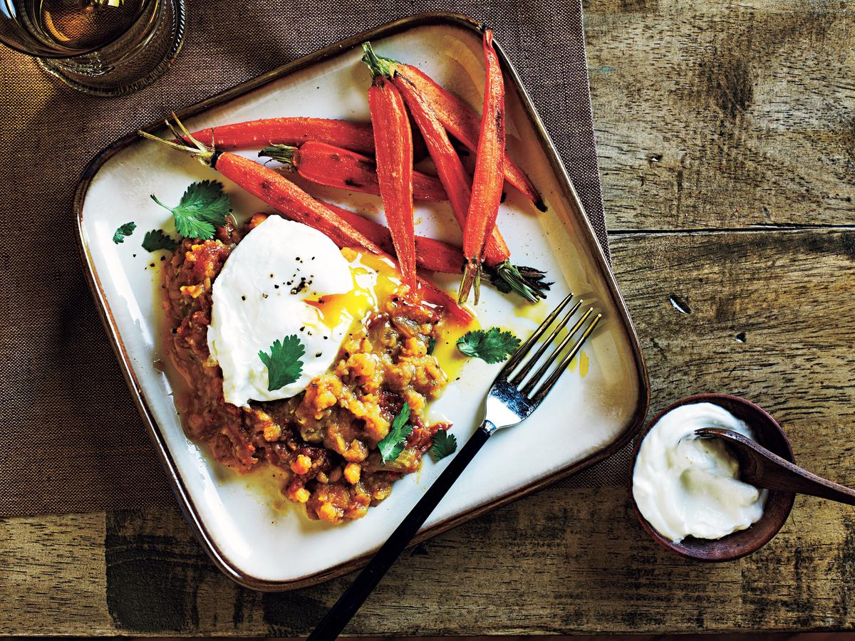 Quick, healthy, and delightful, flavorful lentils mix well with poached eggs for a quick and easy meatless meal option.