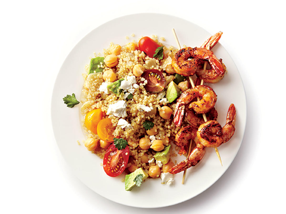 Cooking with quinoa 31 recipes cooking light spicy grilled shrimp with quinoa salad forumfinder Choice Image