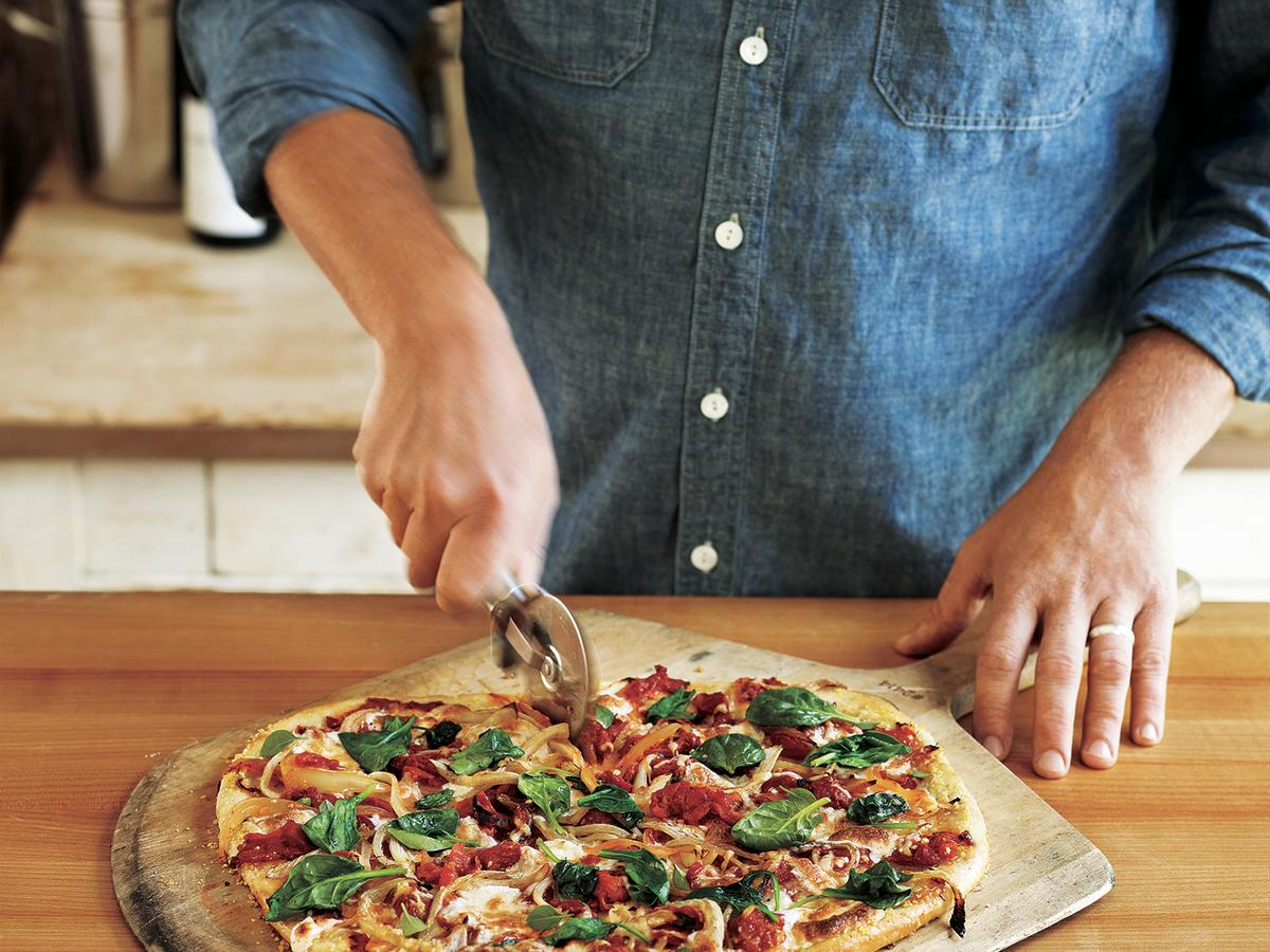 Purchase one pound of pizza dough and use most of it here; the rest becomes grilled flatbreads for other meatless dishes.