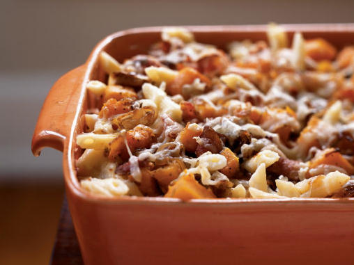 Smoky bacon compliments the richness of butternut squash in this casserole to create a dish that can be enjoyed right away or prepared ahead for a party or weeknight meal.