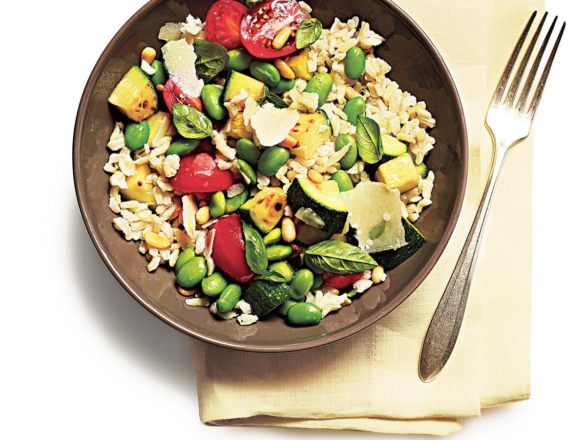 Fresh Tomatoes, Zucchini, Basil, And Toasted Pine Nuts Bring This Rice  Salad To