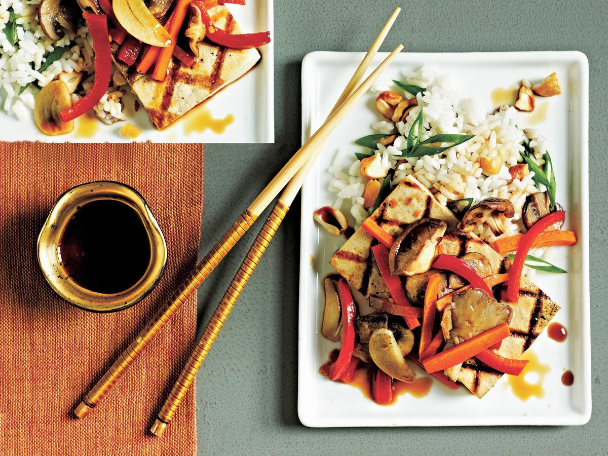 This quick vegetarian entrée is full of flavor and rich vegetables. Piercing the tofu with a fork allows the tofu to absorb the sesame oil and soy sauce, making it more flavorful.