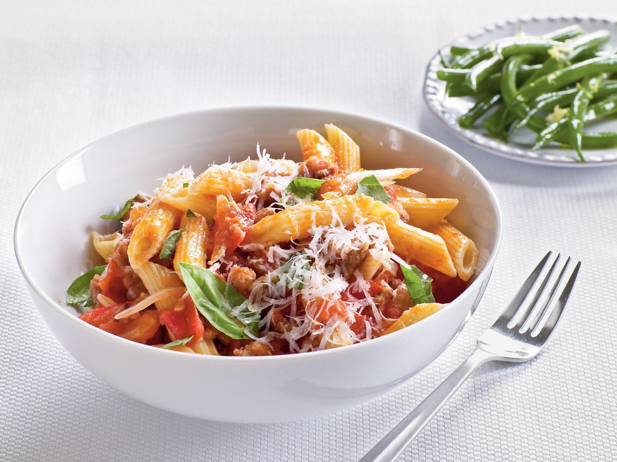 Fresh Tomato, Sausage, and Pecorino Pasta Recipe