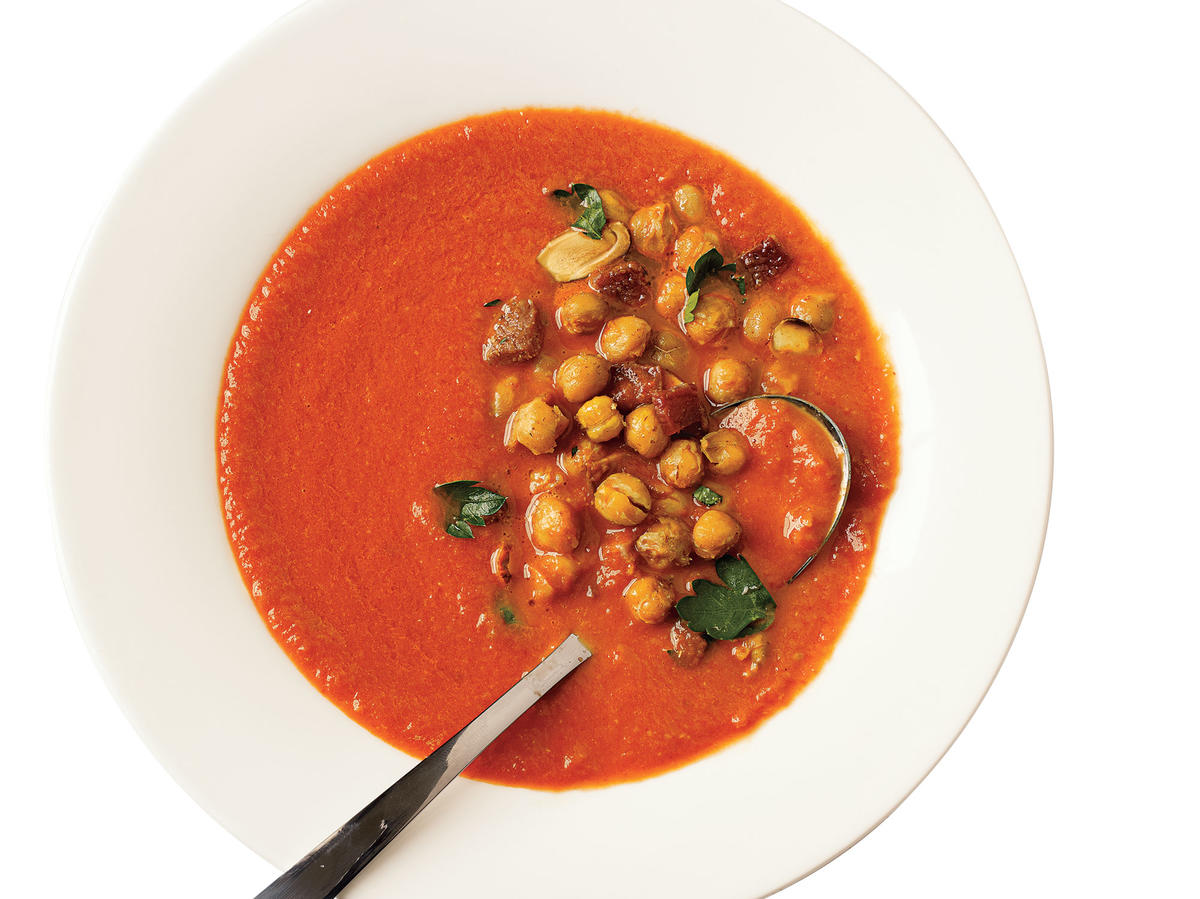 Tomato Soup with Roasted Chickpeas Budget Cooking Recipe