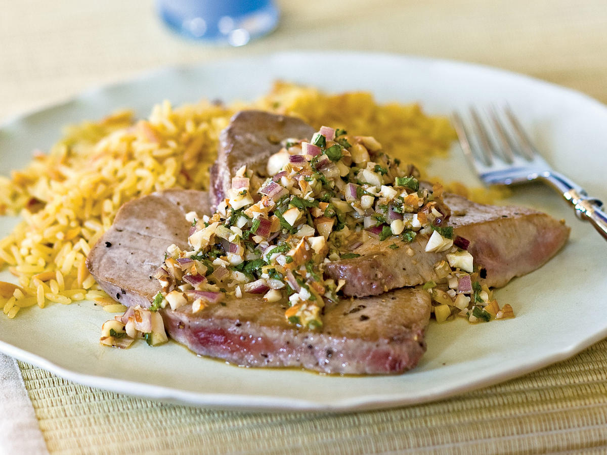 Tuna Scaloppine with Onion, Mint, and Almond Topping Recipes