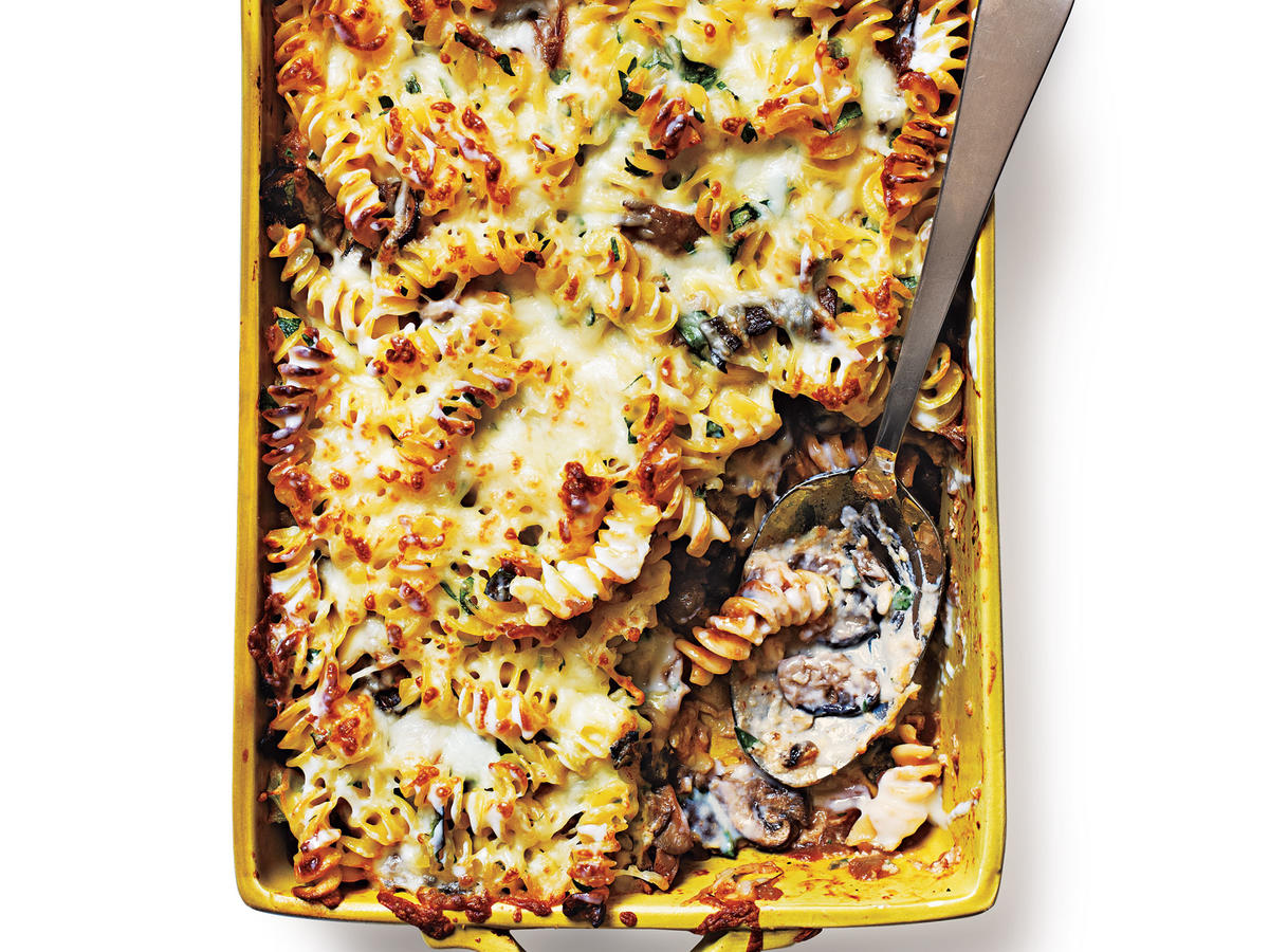 This meatless version of pastitsio swaps ground beef for wild mushrooms but keeps the creamy, cheesy goodness of the classic dish. Entertaining? Serve alongside Swiss Chard with Crème Fraîche and an earthy pinot noir.