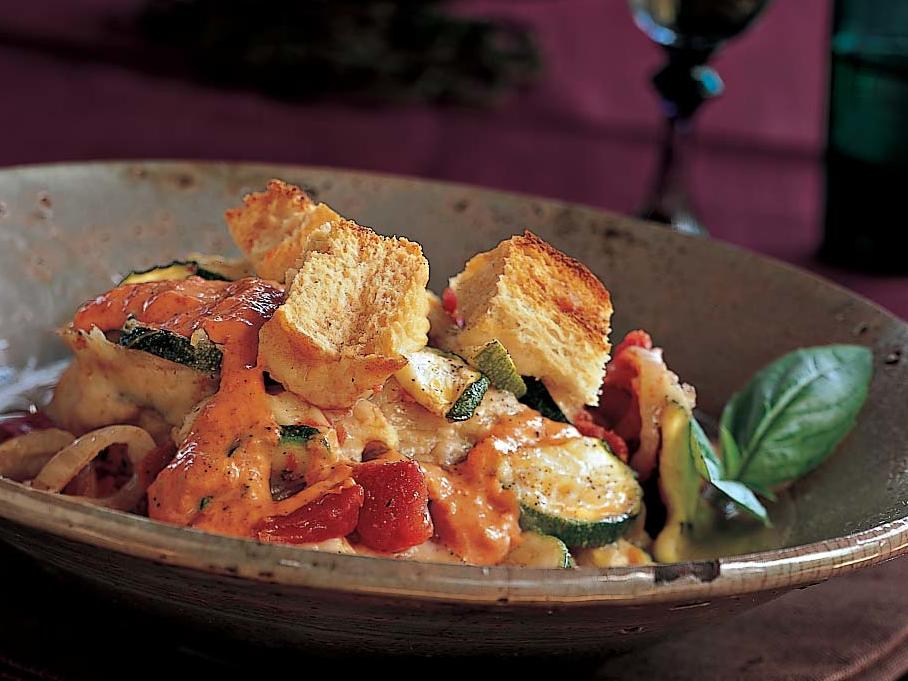 Casseroles are a delicious way to enjoy a number of fresh vegetables, and this zucchini version is no different. Layer your sliced veggies with mozzarella cheese in a casserole dish and serve with crusty Italian bread drizzled with a sweet, tangy, and creamy red-pepper aioli.