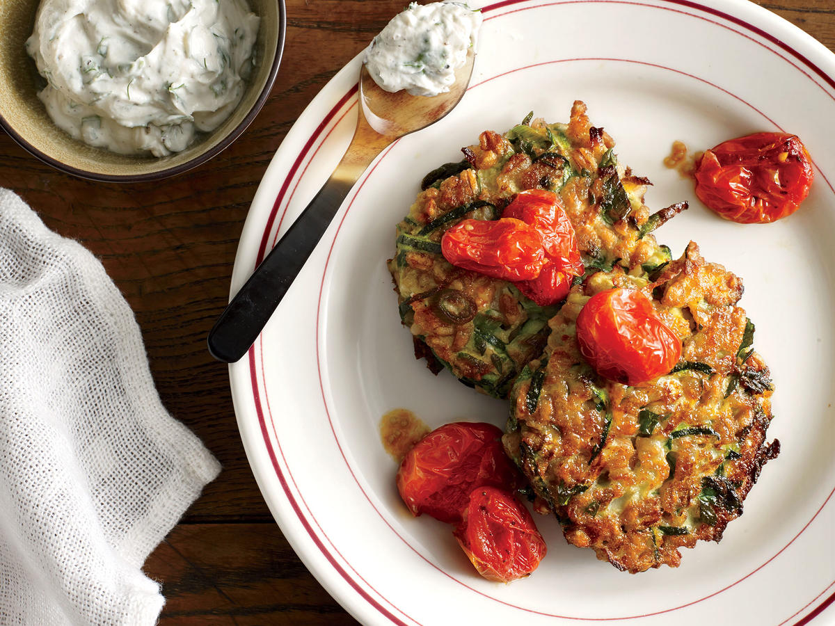 1404 Zucchini-Farro Cakes With Herbed Goat Cheese and Slow-Roasted Tomatoes