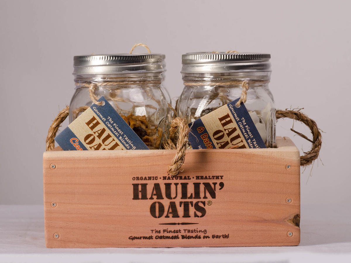 4 Pack Oatmeal Gift Crate Pint Jars