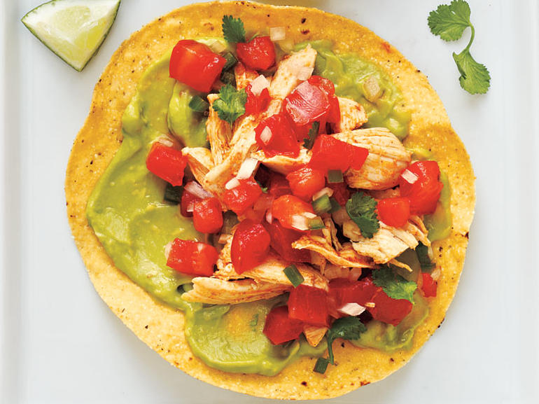 Healthy Chicken and Guacamole Tostadas Recipe