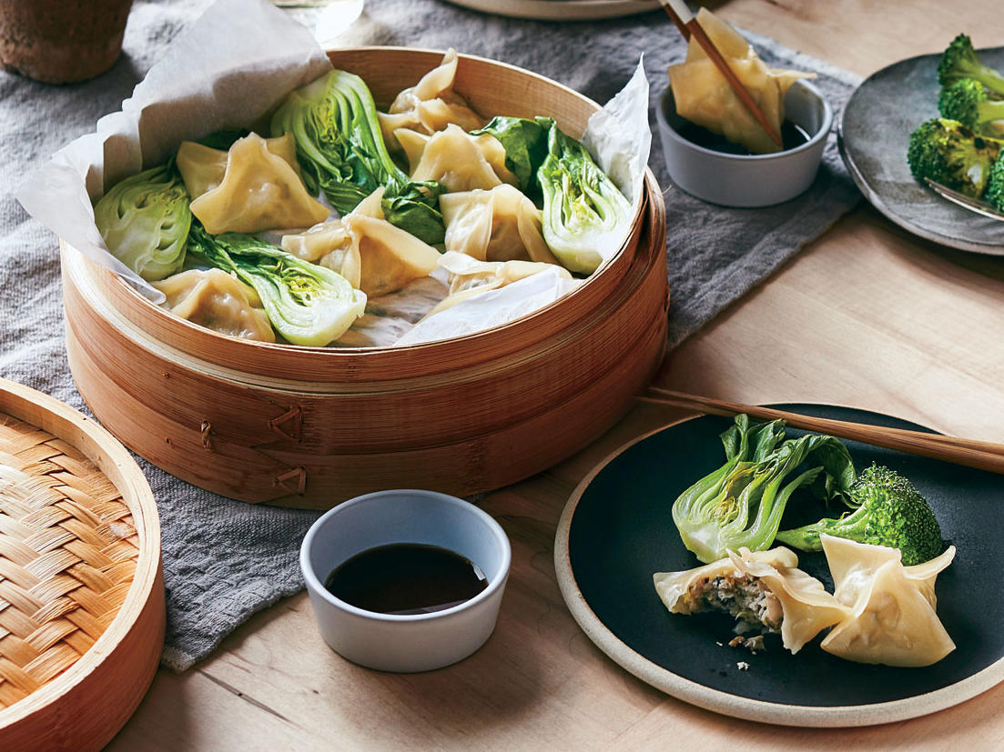Chicken-and-Mushroom Dumplings with Bok Choy
