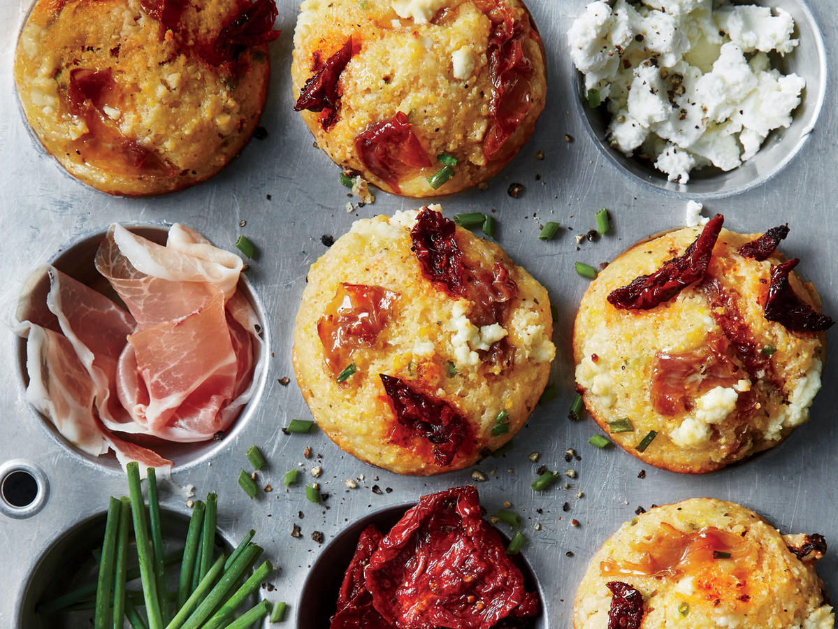 Clone of 1709 Corn Muffins with Prosciutto, Sun-Dried Tomatoes, and Goat Cheese Prep