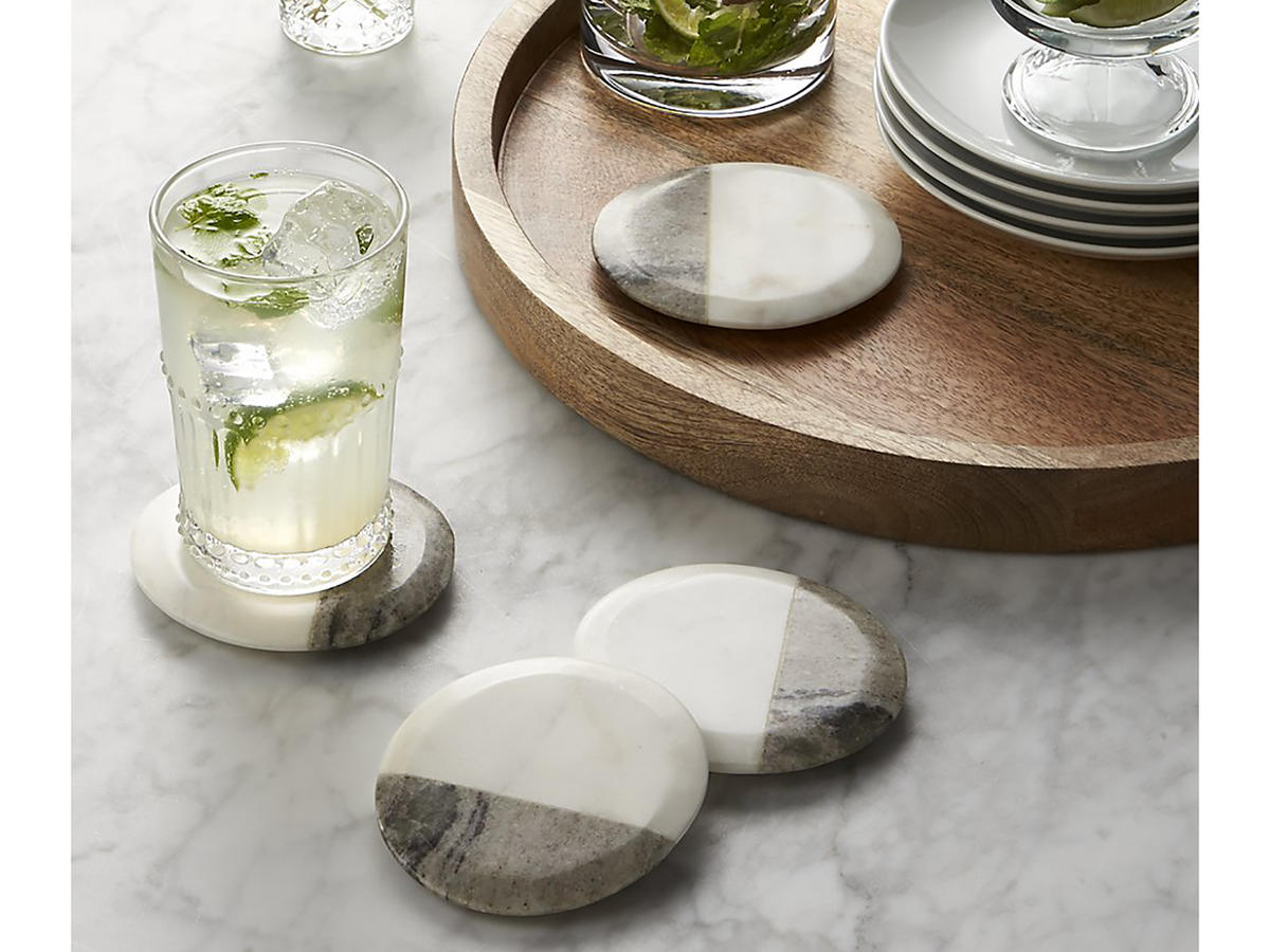 Crate and Barrel Marble Coasters Set