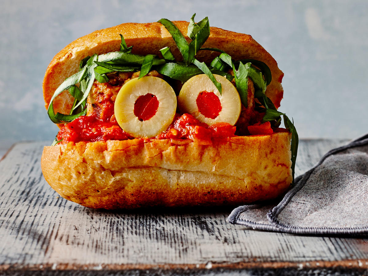 Mini Chicken and Basil Meatball Hoagies