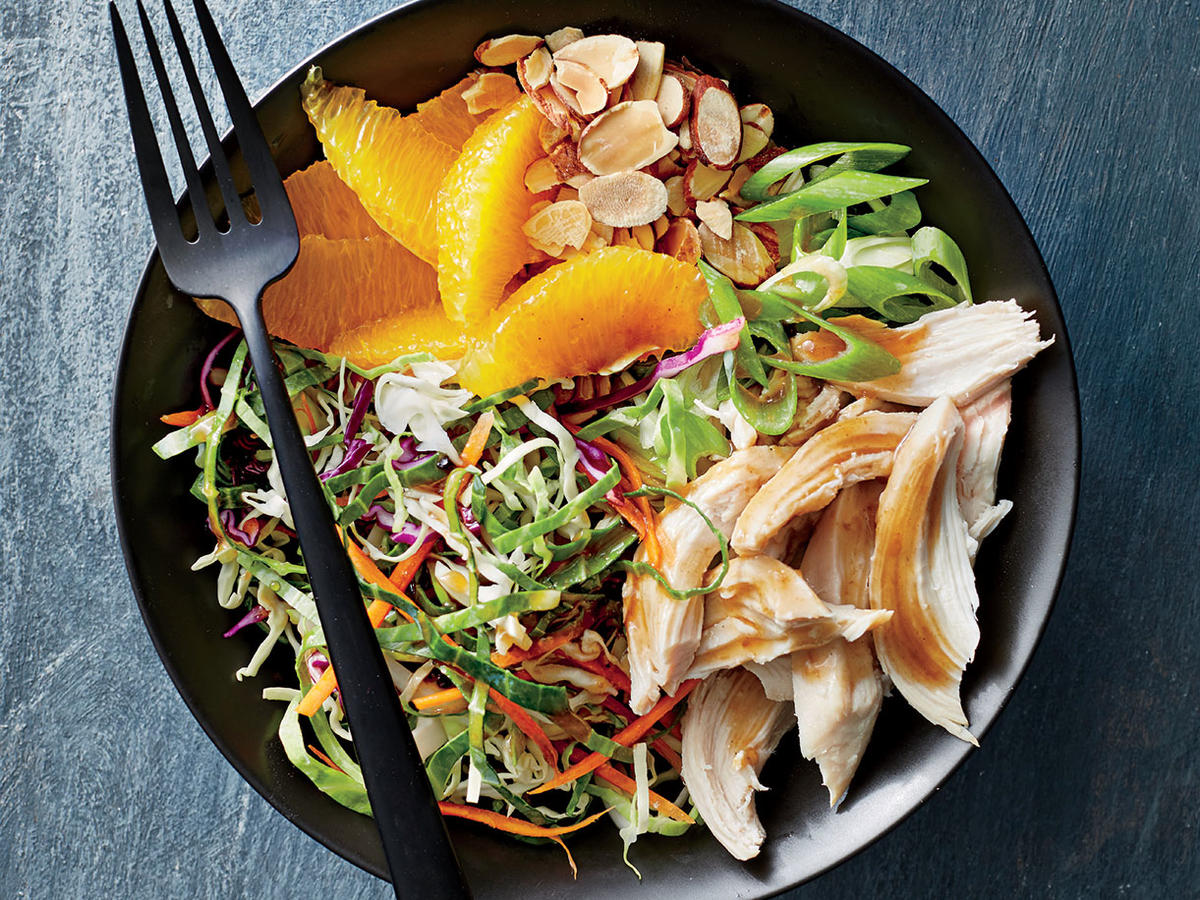 Tuesday: Orange-Almond Chicken-and-Cabbage Bowls
