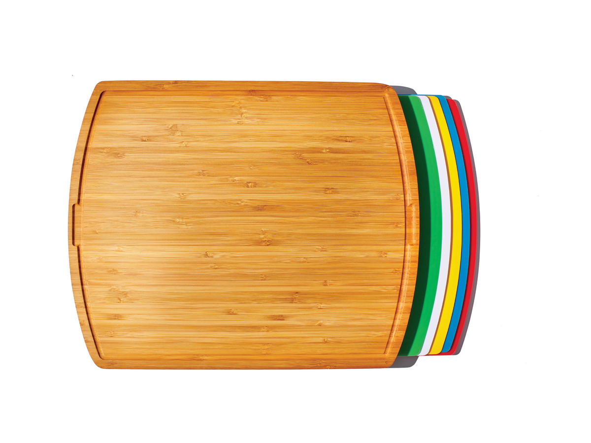 Seville Classics Bamboo Cutting Board with 5 Color-Coded Flexible-Cutting Mats