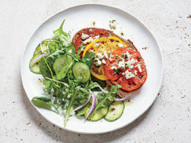 Tomato and Feta Toasts with Mixed Greens Salad