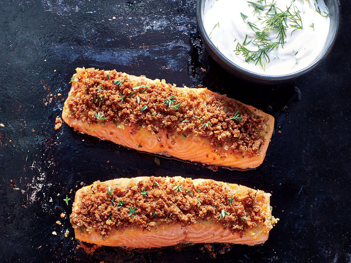 Dijon-Herb Crusted Salmon with Creamy Dill Sauce