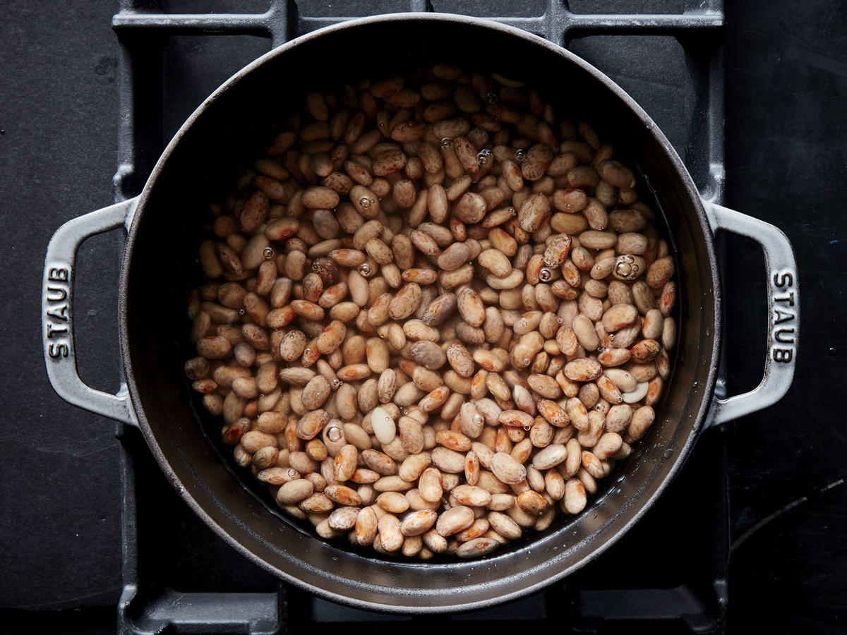 Add cold water just to cover beans